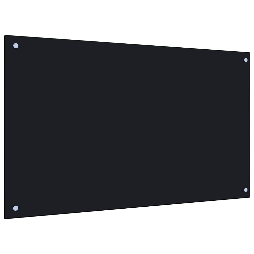vidaXL Panou antistropi bucătărie, negru, 100x60 cm, sticlă securizată poza vidaxl.ro