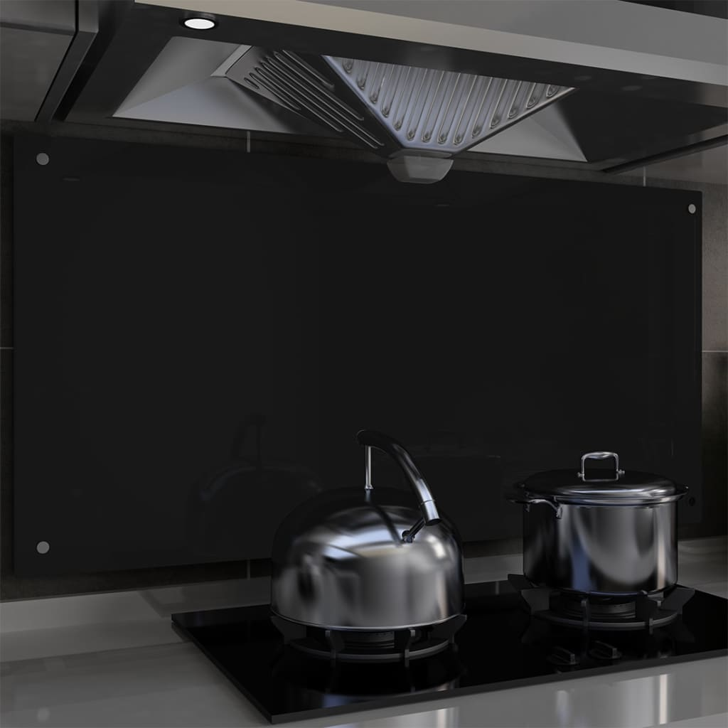 vidaXL Panou antistropi bucătărie, negru, 120x60 cm, sticlă securizată poza vidaxl.ro