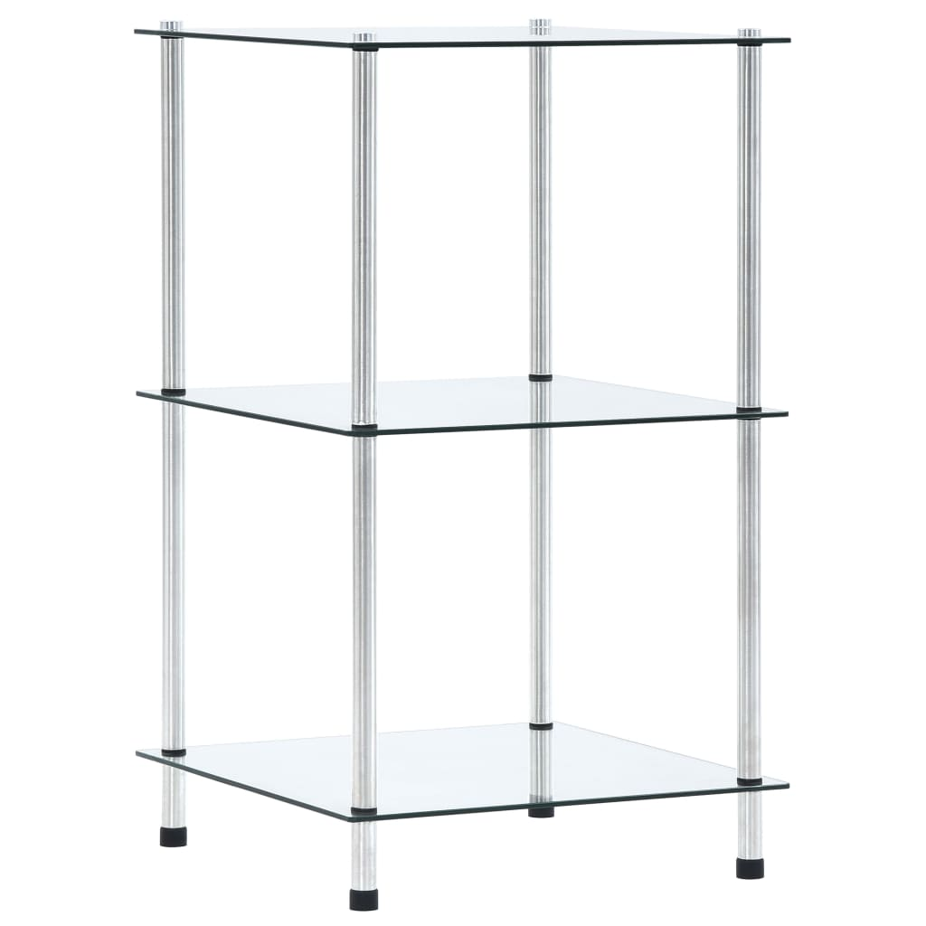 3patrová police průhledná 40 x 40 x 67 cm tvrzené sklo