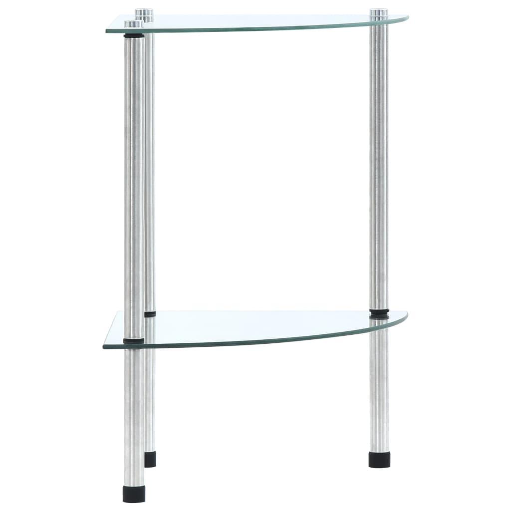 2patrová police průhledná 30 x 30 x 47 cm tvrzené sklo