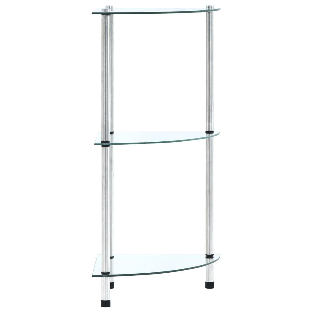 3patrová police průhledná 30 x 30 x 67 cm tvrzené sklo