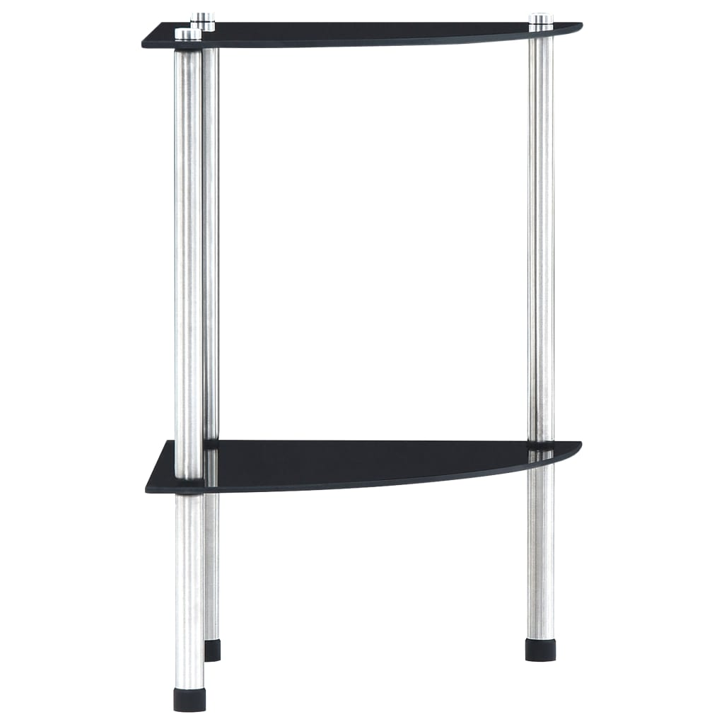 2patrová police černá 30 x 30 x 47 cm tvrzené sklo