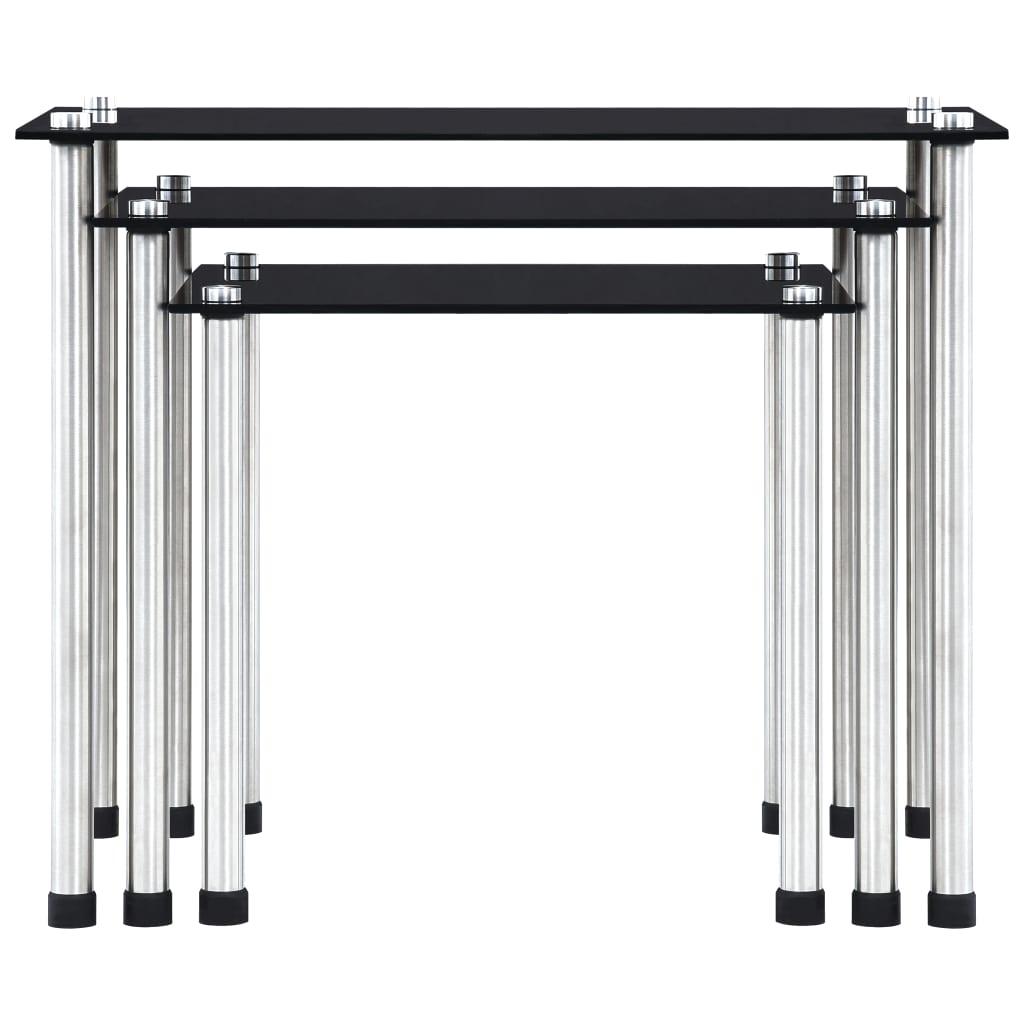 vidaXL 3-delige Tafeltjesset gehard glas zwart