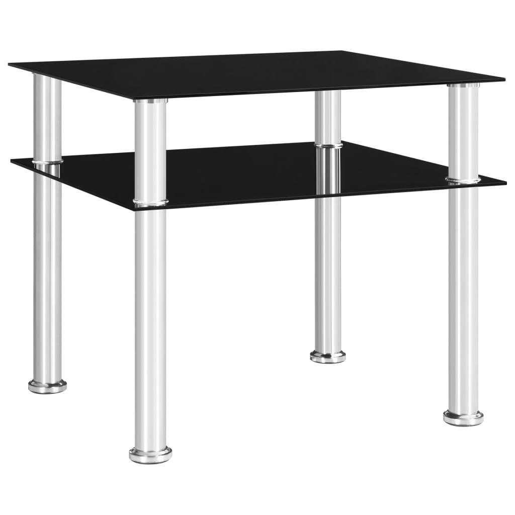 Odkládací stolek černý 45 x 50 x 45 cm tvrzené sklo