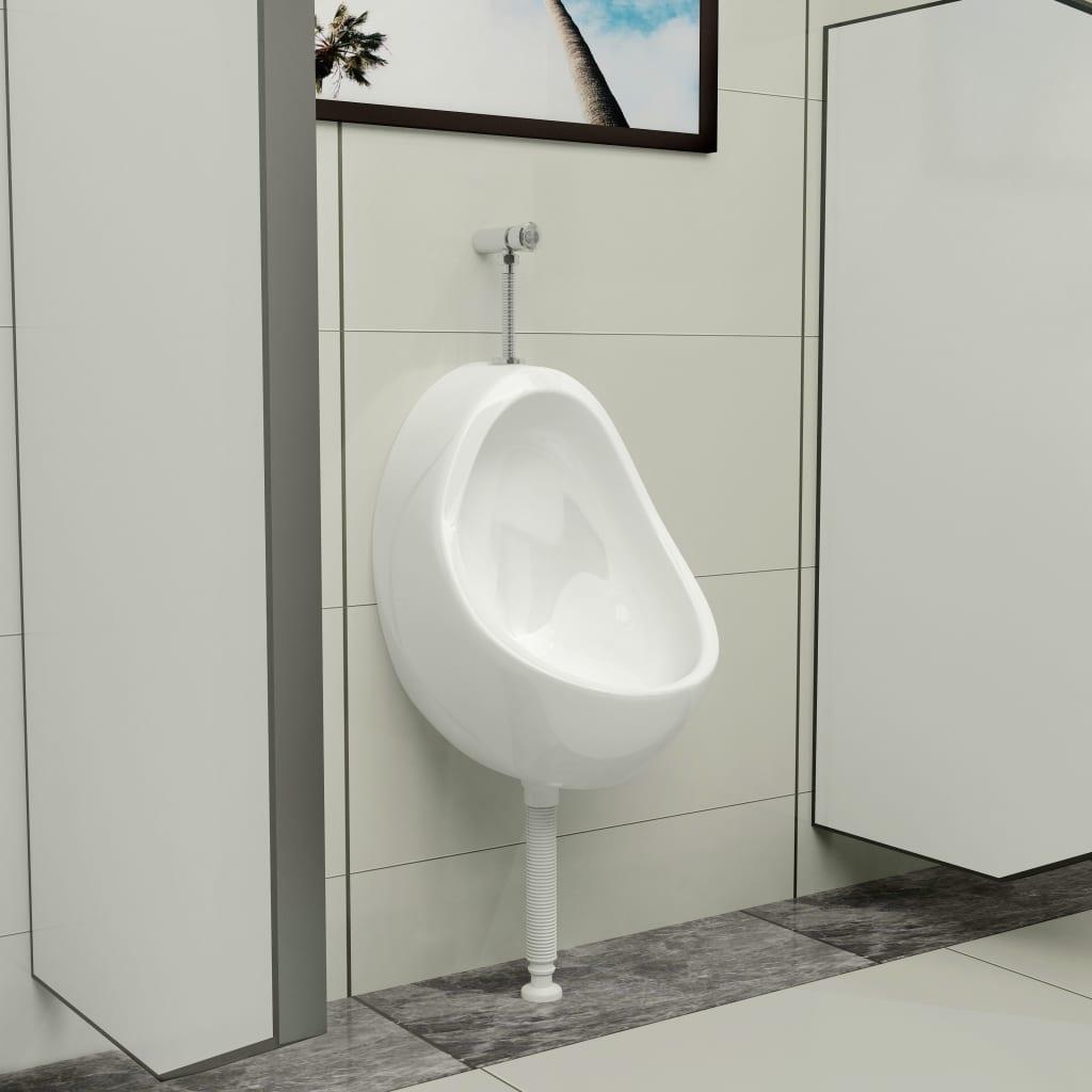vidaXL Pisoar de perete cu supapă pentru spălare, alb, ceramică vidaxl.ro