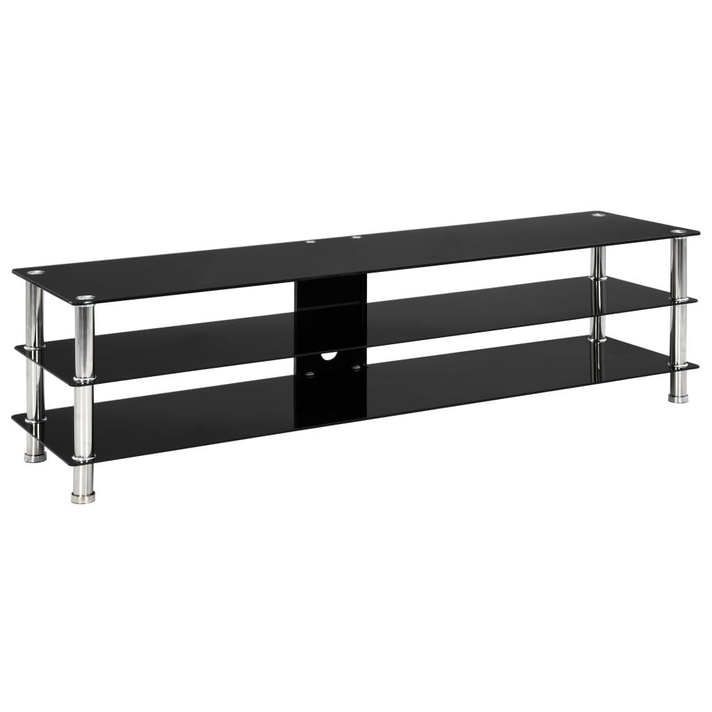 vidaXL Szafka pod TV, czarna, 150x40x40 cm, hartowane szkło