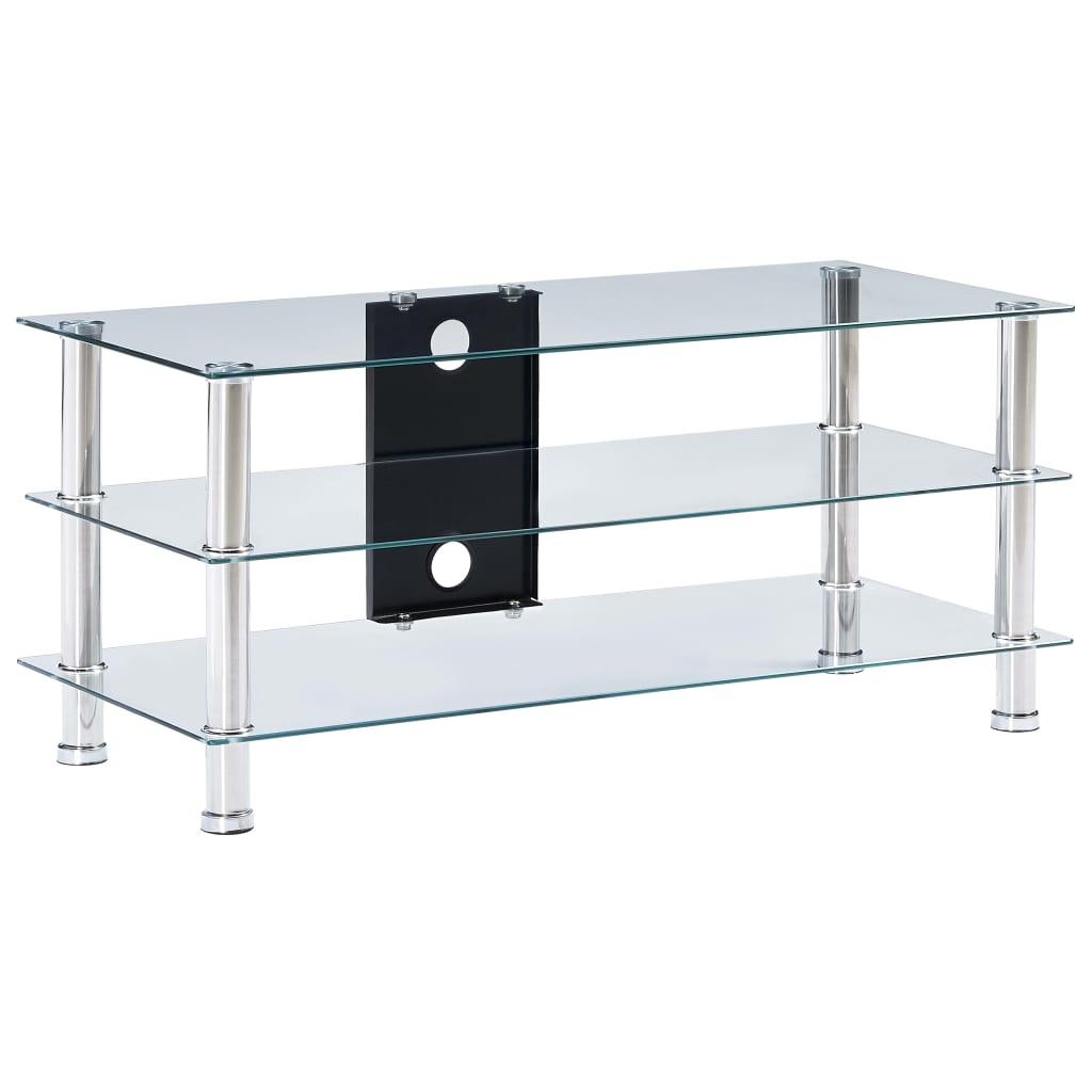 Tv-meubel 90x40x40 cm gehard glas transparant