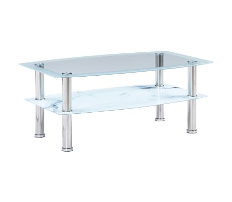 vidaXL Coffee Table with Marble Look White 100x60x42 cm Tempered Glass