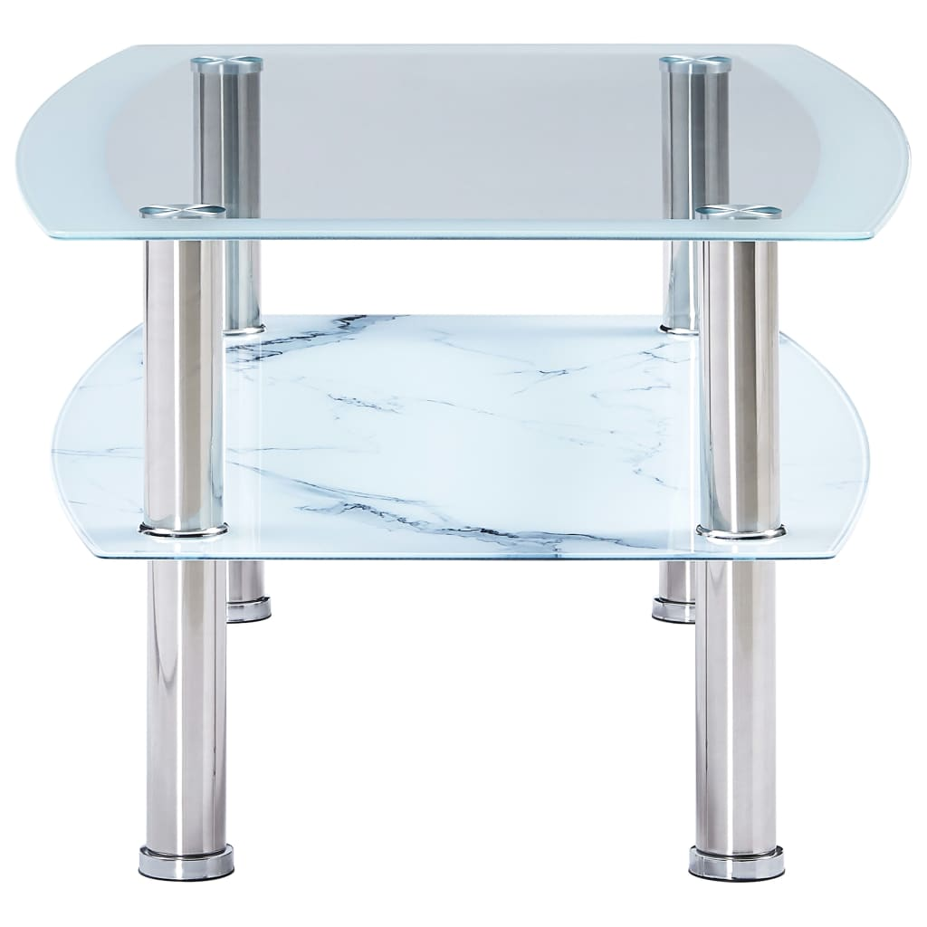 Salontafel met marmer-look 100x60x42 cm gehard glas wit