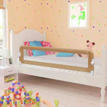 vidaXL Apsauginis turėklas vaiko lovai, taupe sp., 150x42cm, poliest.[1/6]