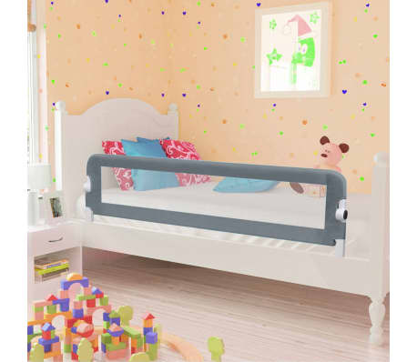 vidaXL Toddler Safety Bed Rail Grey 150x42 cm Polyester-picture