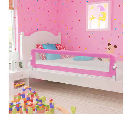 vidaXL Toddler Safety Bed Rail Pink 180x42 cm Polyester[1/6]
