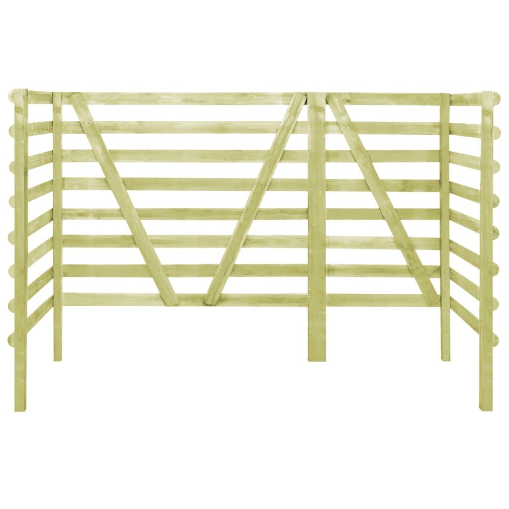 vidaXL Containerberging driedubbel 210x80x150 cm FSC geimpregneerd grenenhout