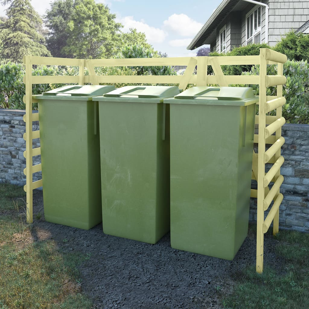 vidaXL Containerberging driedubbel 210x80x150 cm grenenhout