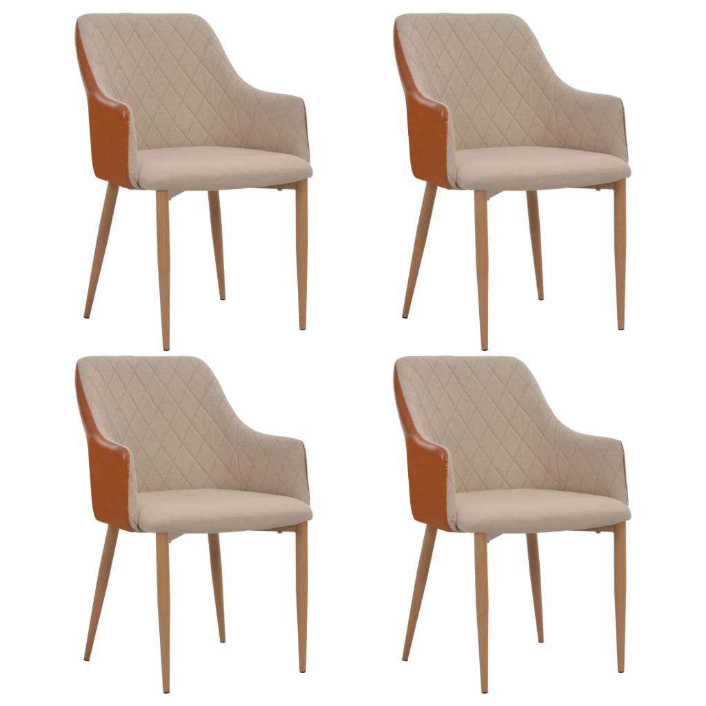 vidaXL Καρέκλες Τραπεζαρίας 4 τεμ. Γκρι / Καφέ Υφασμάτινες