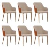vidaXL Valgomojo kėdės, 6 vnt., pilkos ir rudos sp., audinys