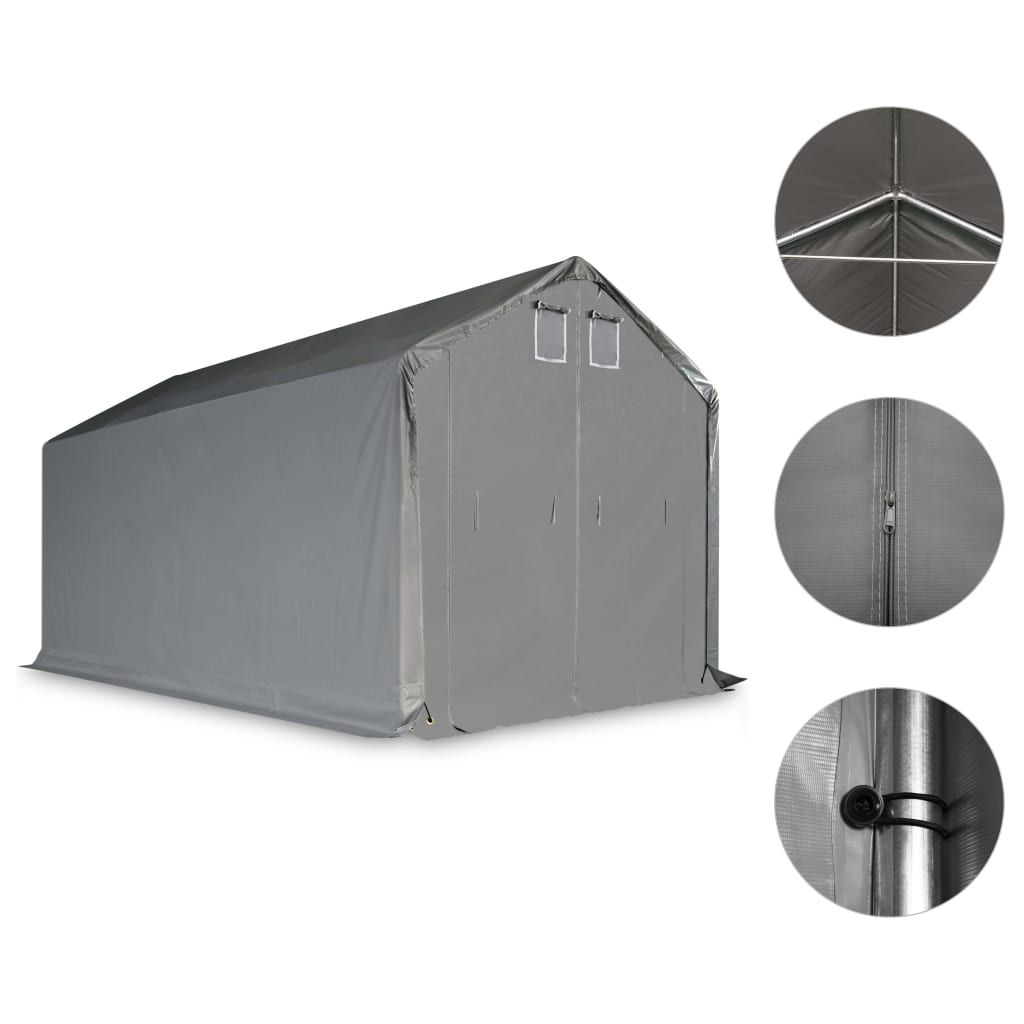 Afbeelding van vidaXL Opslagtent 4x8m PVC grijs