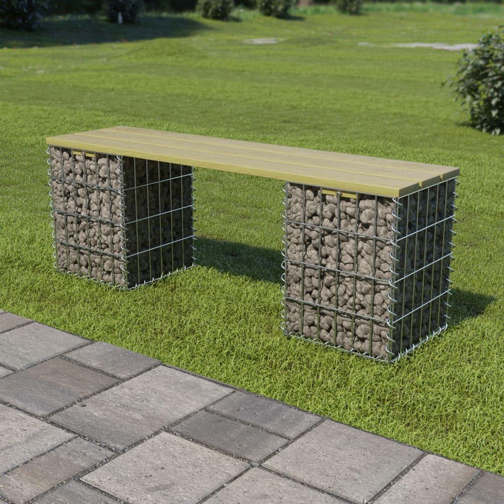 Gabionová lavice 120 cm pozinkovaná ocel a borovice