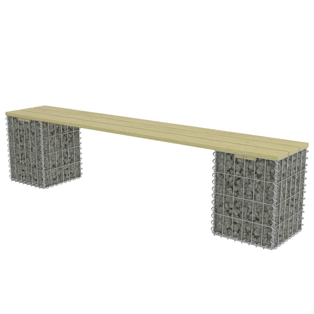 vidaXL Gabion bank 180 cm gegalvaniseerd staal en grenenhout