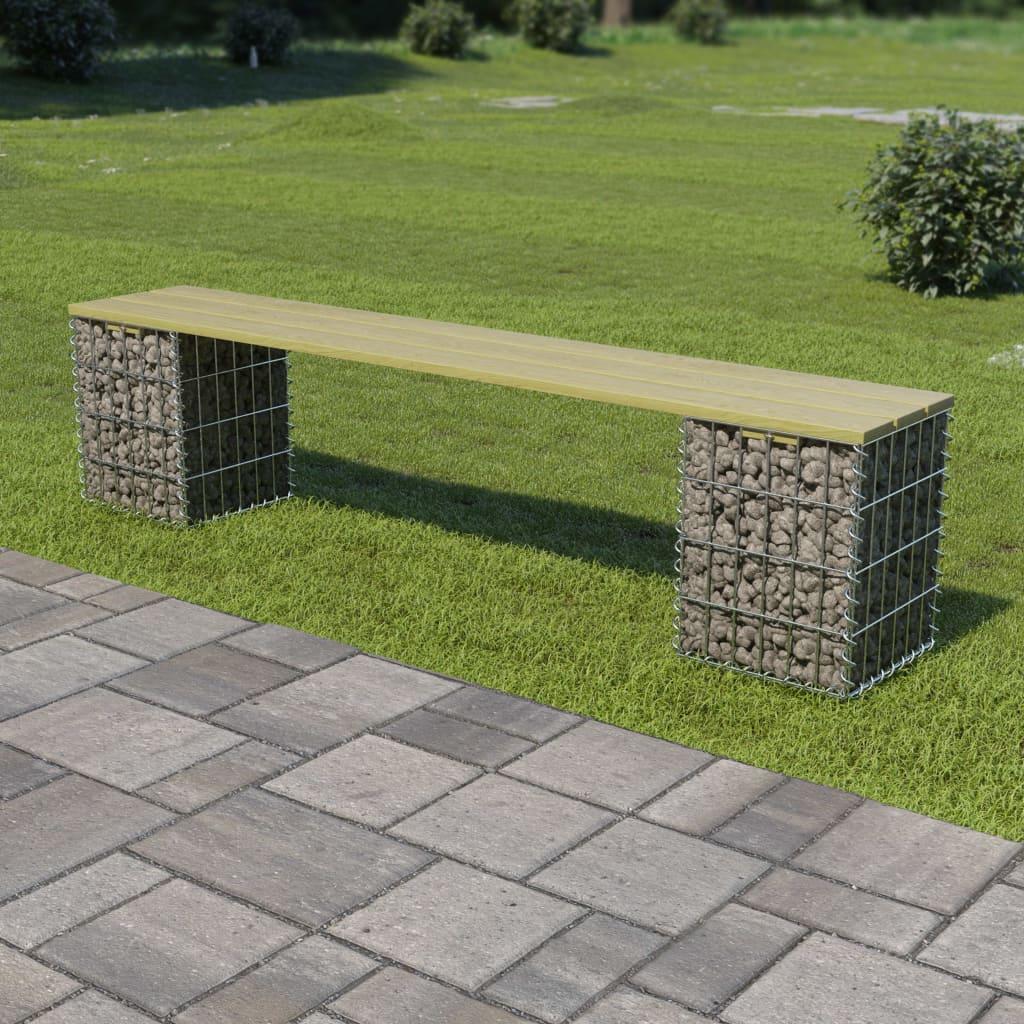 Gabionová lavice 180 cm pozinkovaná ocel a borové dřevo