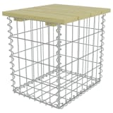 vidaXL Garden Footstool 40x40x45 cm Galvanised Steel Pinewood