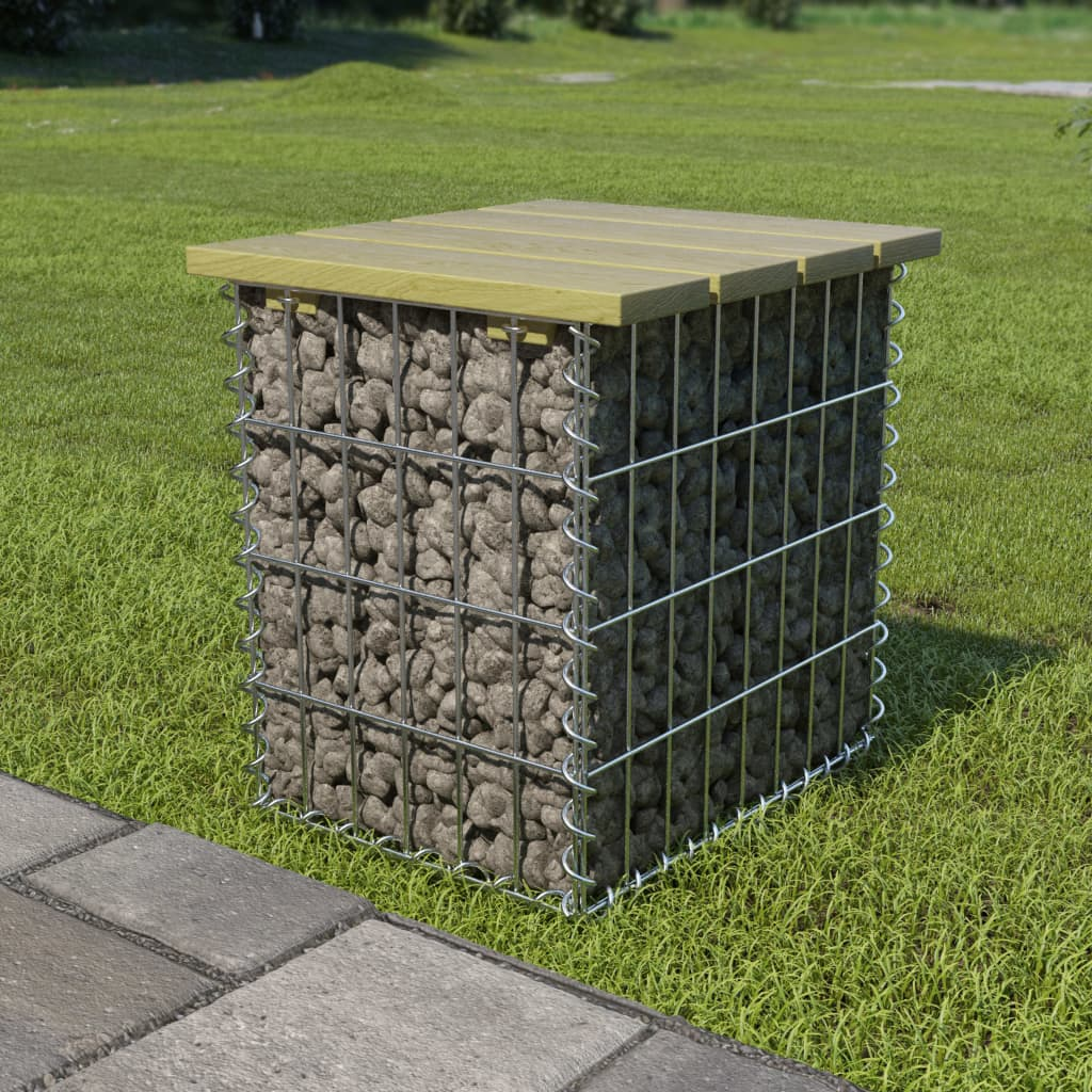 vidaXL Taburet de grădină, 40x40x45 cm, oțel galvanizat, lemn de pin poza 2021 vidaXL
