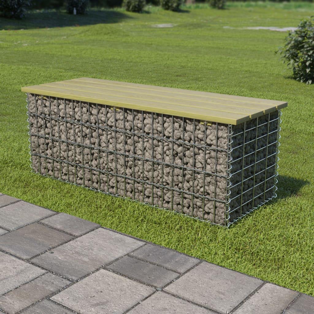 vidaXL Bancă gabion, 120 cm, oțel galvanizat și lemn de pin imagine vidaxl.ro