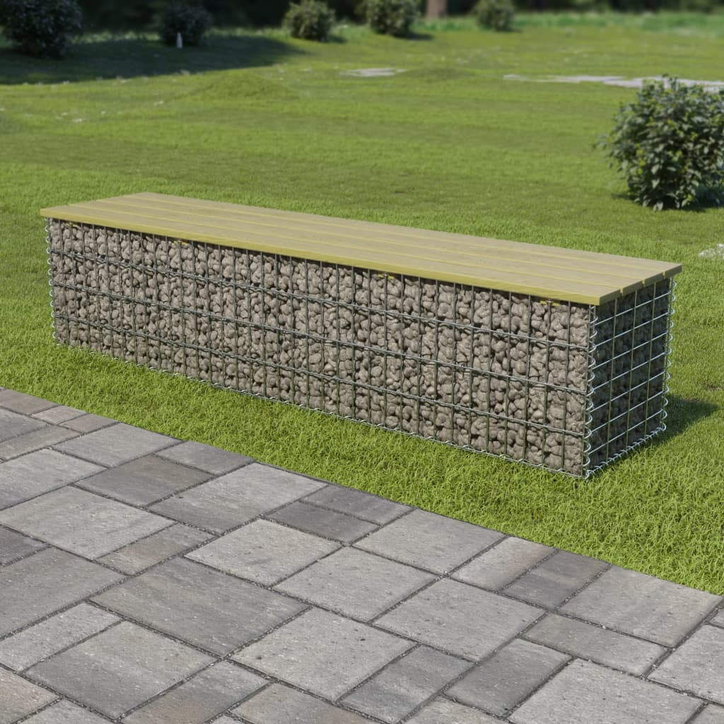 vidaXL Gabionová lavice 170 cm pozinkovaná ocel a borové dřevo