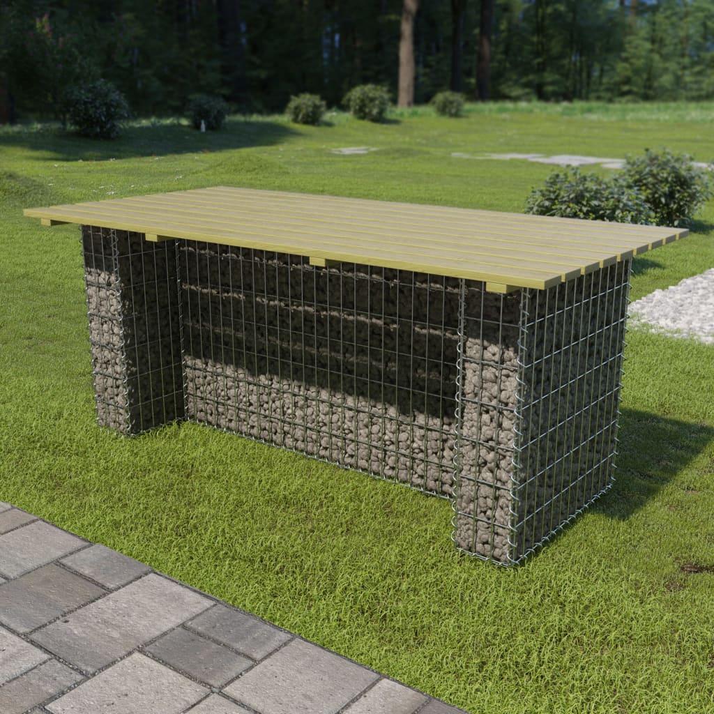 vidaXL Masă de grădină cu gabion din oțel, 180x90x74 cm lemn pin poza vidaxl.ro