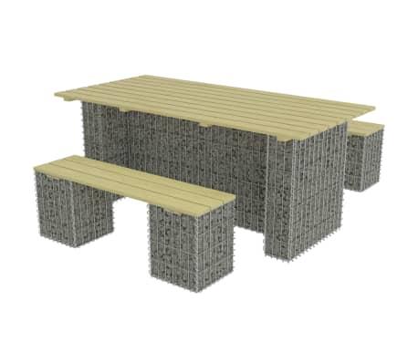 vidaXL 3-delige Tuinset met stalen gabion grenenhout[3/6]