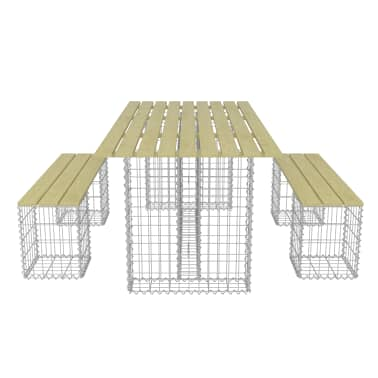 vidaXL 3-delige Tuinset met stalen gabion grenenhout[5/6]