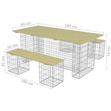 vidaXL 3-delige Tuinset met stalen gabion grenenhout[6/6]