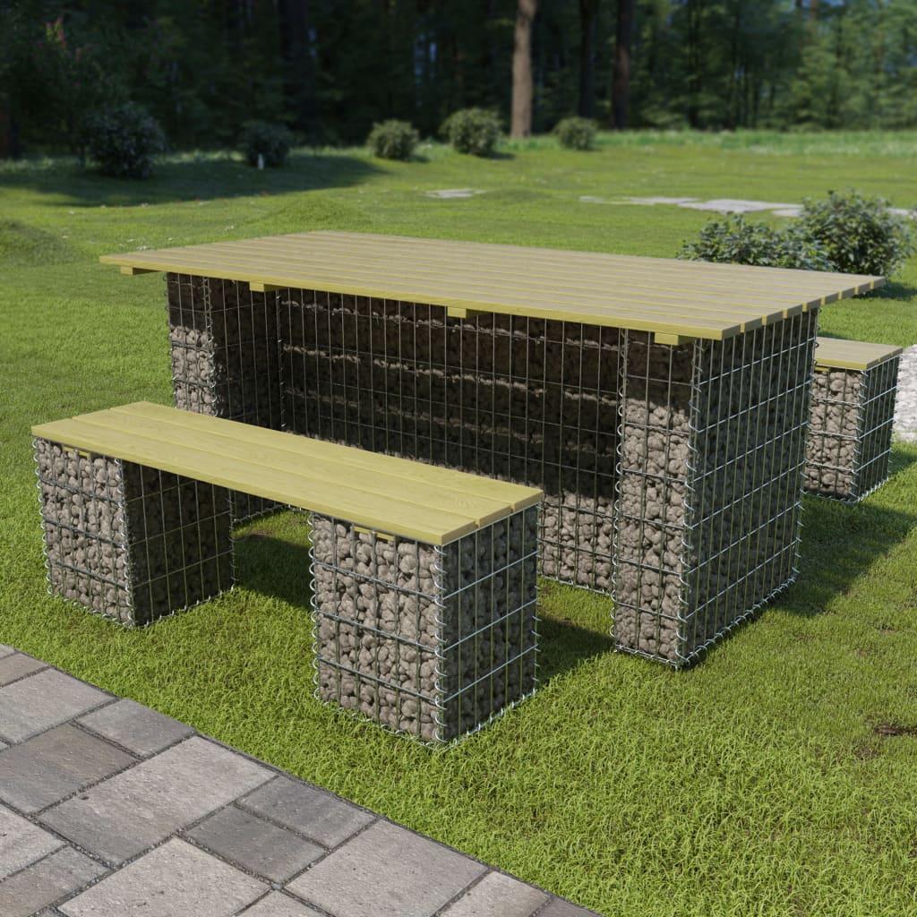 vidaXL 3dílný zahradní jídelní set s ocelovým gabionem borovice