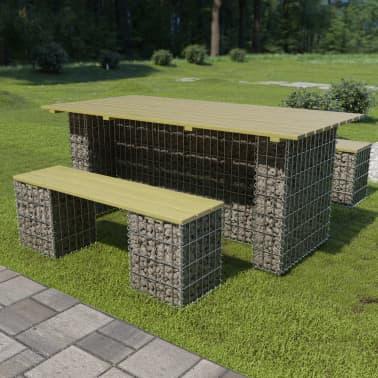 vidaXL 3-delige Tuinset met stalen gabion grenenhout[1/6]