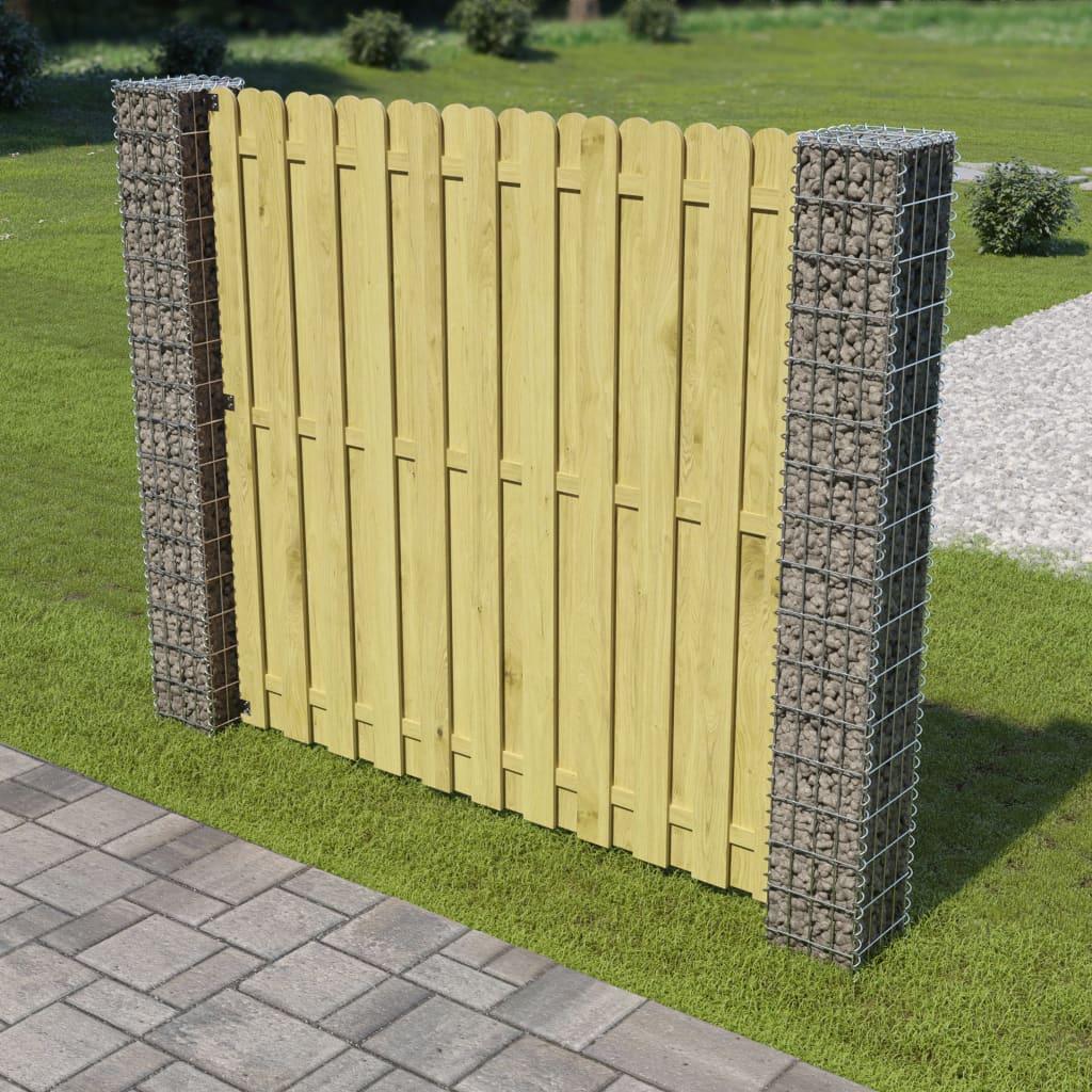 Gabionski panel za ogradu sa stupovima od borovine 180x180 cm