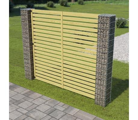 vidaXL Panneau de clôture de jardin avec poteaux en gabion Pin FSC ...