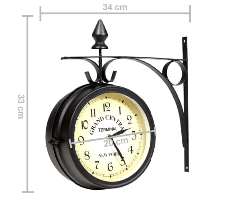 vidaXL Two-sided Wall Clock 20 cm[6/6]