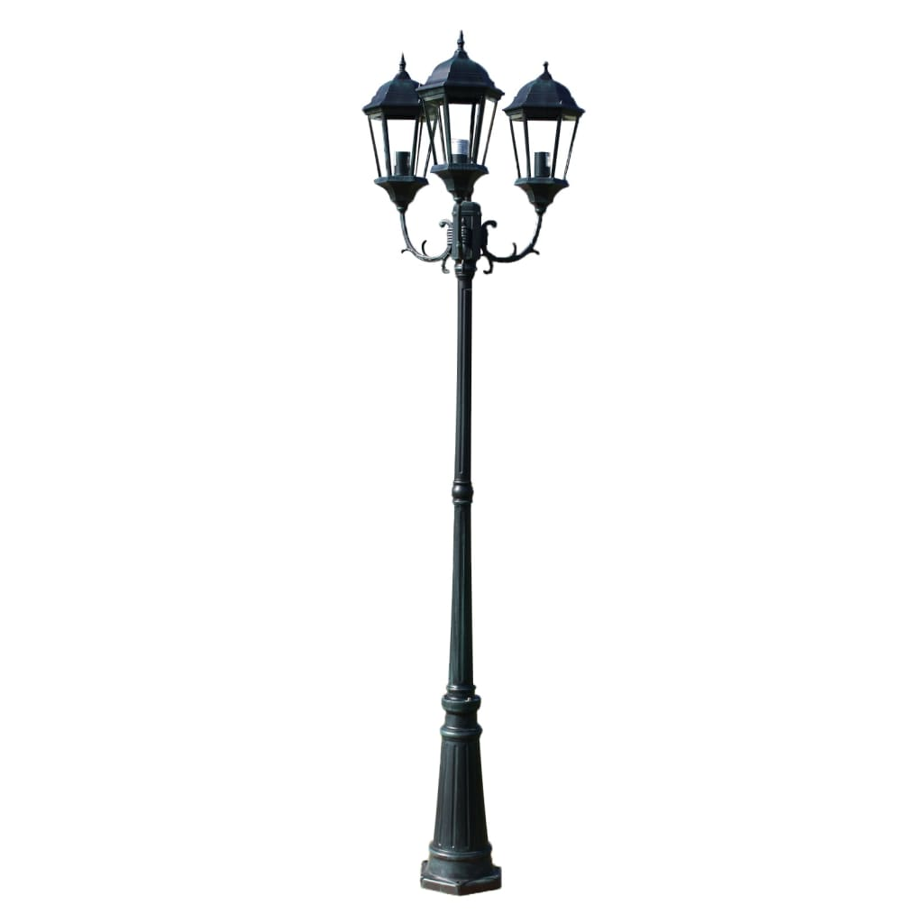 Comwinkel Tuinlantaarn Brighton 3-arms 230 cm donkergroen/zwart