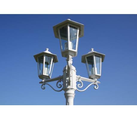 Kingston Puutarhan Valotolppa 3-lyhtyä 215 cm Valkoinen[2/9]