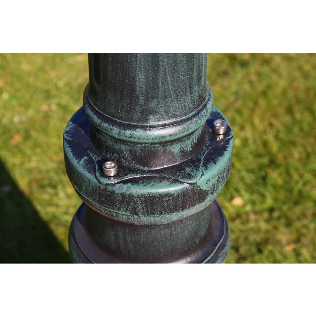 Zahradní lampa vysoká 2 ramena 215 cm tmavě zelená/černá hliník