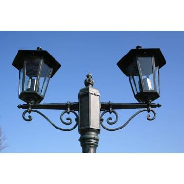 vidaXL Lampione da Giardino 2 Bracci 215 cm Verde Scuro/Nero Alluminio[6/9]