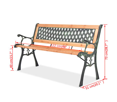 vidaXL Garden Bench 122 cm Wood[7/7]