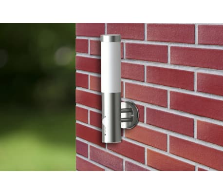 vidaXL Lámpara de pared exterior detector movimiento acero inoxidable[2/7]