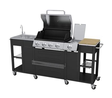 vidaXL Barbecue Esterno Cucina a Gas Completa Acciaio 4 Bruciatori ...