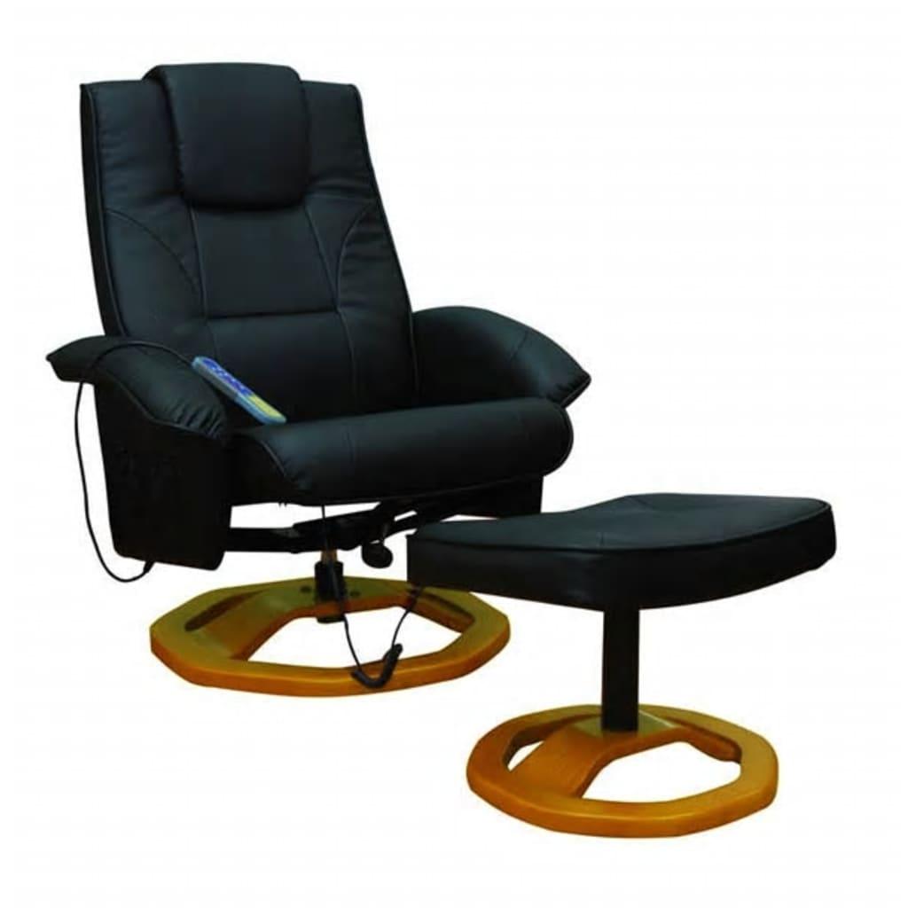 Afbeelding van vidaXL Fauteuil met massage en verwarming, zwart skaileer, ronde houten