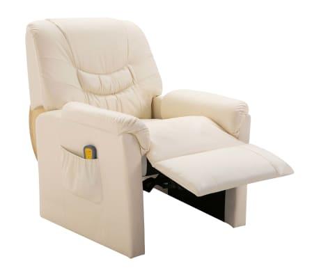 vidaXL Fotoliu de masaj electric, piele artificială, crem[2/10]