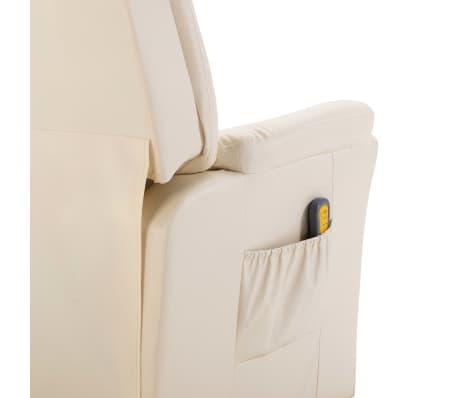 vidaXL Fotoliu de masaj electric, piele artificială, crem[7/10]