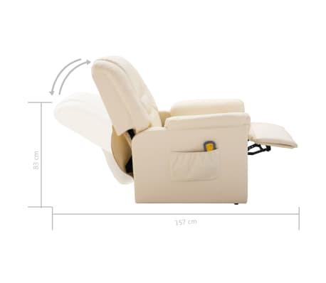 vidaXL Fotoliu de masaj electric, piele artificială, crem[9/10]