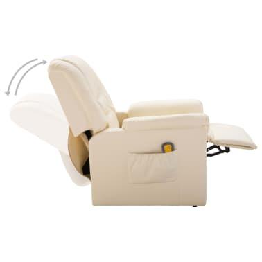 vidaXL Fotoliu de masaj electric, piele artificială, crem[3/10]