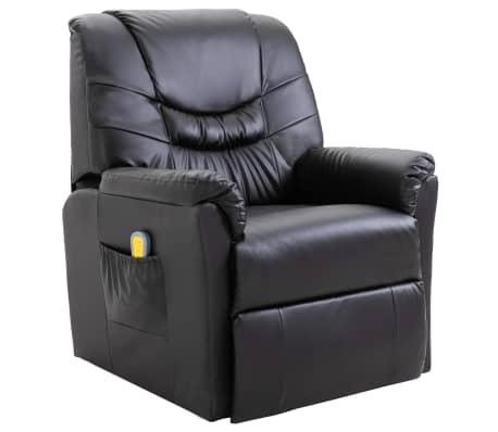 vidaXL Masažinė kėdė, juoda, dirbtinė oda